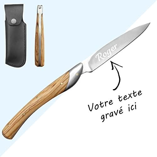 Kdo Magic - Couteau personnalisé - Manche bois - Prénom gravé sur lame - cadeau homme - Fête des pères, papa, papy, anniversaire ou noël