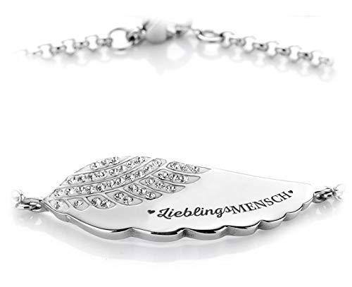 Silvity Damen Gravur-Armband Edelstahl veredelt Kristallen 17,5 cm bis 21,5 cm Farbe: Silber (Silber(Lieblingsmensch))