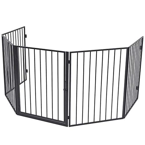 LZQ Kaminschutzgitter mit Tür,Gesamtlänge 305 cm Türschutzgitter Faltbar Absperrgitter Laufstall Ofenschutzgitter für Kinder Haustier Ofenschutz 5-teilig