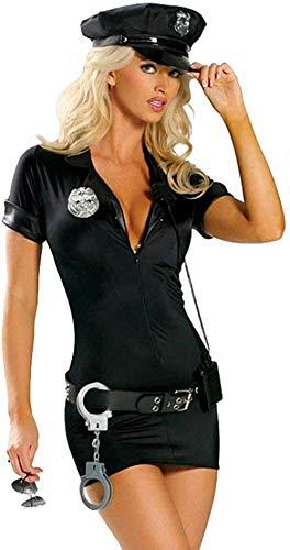 WANLOVE Disfraz de policía de tráfico Sexy para Mujer, Uniforme de Cosplay de Mujer policía Adulta-Negro_L