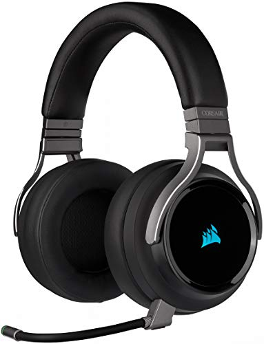 Corsair Virtuoso RGB Wireless SE - Auriculares Alta Fidelidad Gaming (Sonido Envolvente 7.1, Micrófono Omnidireccional, para PC y PS4) Over Ear, Negro