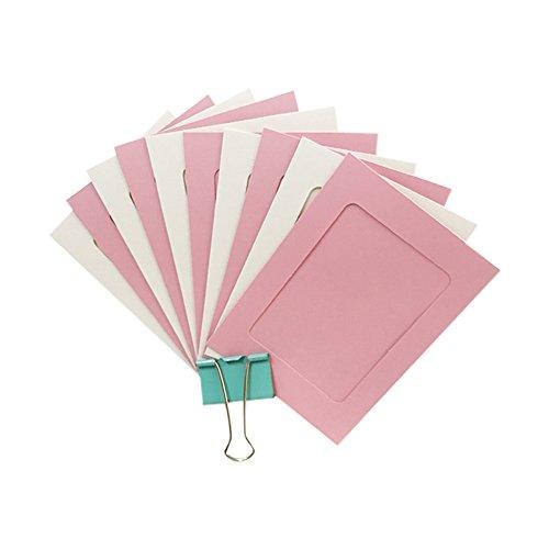 CAOLATOR Bilderrahmen Collagen Papier Fotorahmen 10 x 15 cm Foto hängende Anzeige mit 10 Bilderrahmen, 10 kleine Holzklammern und 1 Bindfaden Rosa