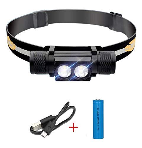 WEIYIN Lampe Frontale LED Rechargeable USB XM-L2 2000 LM étanche (pour la Course, Le Camping, la randonnée, Le Cyclisme, la spéléologie), Bandeau Compact et réglable, Batterie 18650 Incluse