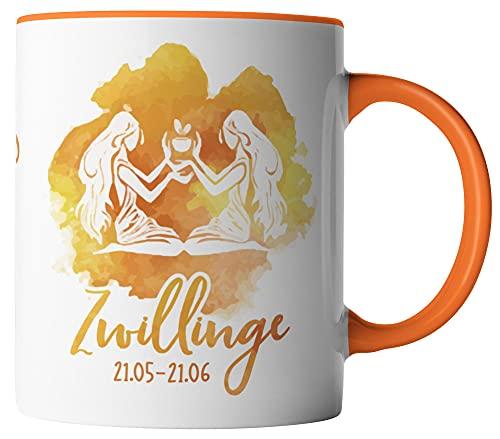 vanVerden Taza – Horóscopo Zodiaco Géminis 21/05 – 21/06 – Impresión por ambos lados – Idea de regalo taza de café, color blanco y naranja