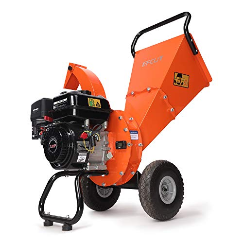 "EFCUT C30 Mini Wood Chipper Shredder Mulcher, 7 HP 212cc Gasoline Engine, 3"" Max Wood Diameter, 15:1 Waste Reduction Ratio, 2-Year Warranty After Product Registration"