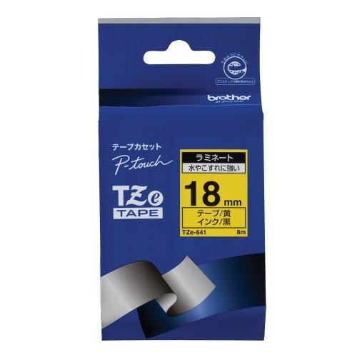 ピータッチ ラミネートテープ 黄ラベル TZe-641 [黒文字 18mm×8m]
