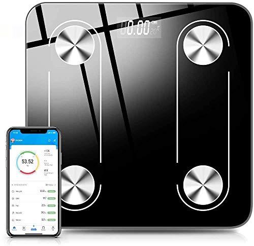 Balanza de Grasa Corporal, Balanza Corporal Digital Bluetooth 4.0 Inalámbrica Inteligente,59 datos Relacionados Analizador de Composición Compatible con las Aplicaciones de IOS y Android