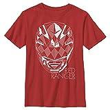 Boy's Power Rangers Geometric Ranger Helmet T-Shirt - Red - Small