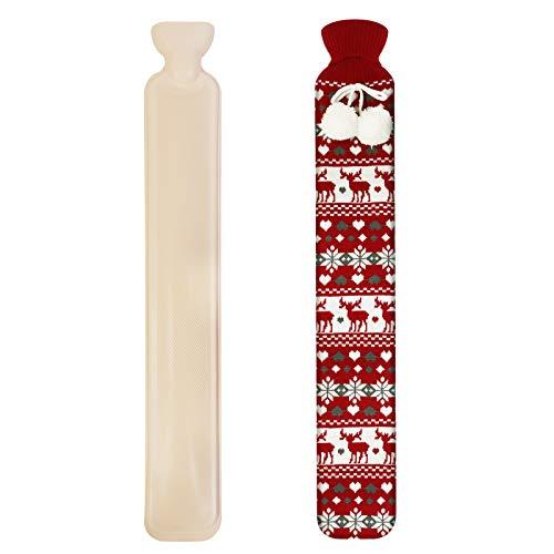 Långa varmvattenflaskor – säng varm midja varm rygg varmvattenflaska med supermjukt tyg stickat skydd 2 l rent naturligt gummi – 72 cm för smärtlindring på aska eller skador (grå)