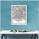 Cartel Impreso de Mapa de la Ciudad de México, Lienzo Impreso de Mapa de la Ciudad de México, póster Impreso, Pintura en Lienzo, decoración de habitación en vivo-60X90cm sin Marco