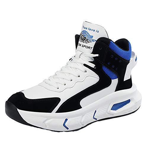 Willsky Zapatos De Baloncesto De Los Hombres Del Top Del Alto De Choque Que Caminan Ocasionales De Formadores Chunky Antideslizante Ejecución De Las Zapatillas De Deporte Gimnasio,Azul,39EU