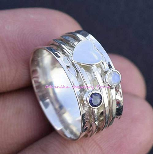 Amethyst and Moonstone Spinner Ring, 925 Sterling Silver Heart Designer Ring, Wide Band Ring, Hammered Meditation Ring (OPTIONS AVAILABLE FOR GEMSTONE & HEART) Mother's Day Gift