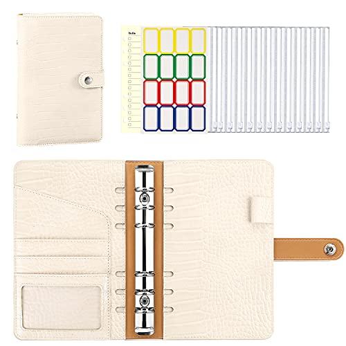MoKo Cuaderno de Carpeta de PU Cuero, A6 Carpeta Portadocumento con 6 Bolsillos para Carpetas, 6 Anillas Carpetas de Conferencia con Sobres de Efectivo, Tarjetero, Etiquetas Autoadhesivas, Beige