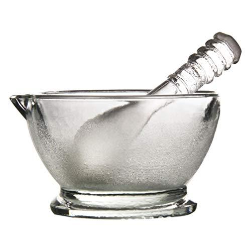 Exceart Mörser und Stößel aus Glas, Guacamole-Schüssel und Stößel für Gewürze, Gewürze, Pasten, Kräuter, Pesto, 60 mm, 75mm, siehe abbildung, 1