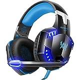 VersionTech g の 2000 ステレオ ゲーミング ヘッドセット マイク 、 PC は オーバー ボリューム コントロール 付き ヘッドフォン を 耳 します。