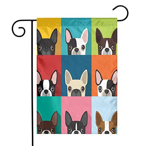 FVBAO Boston Terrier Cute Fun Animal Cartoon Pets Dogs Head Face Garden Flag Vertical Double Sided,Polyester Holiday Flag,Farmhouse Yard Banner for Party Outdoor Decorations