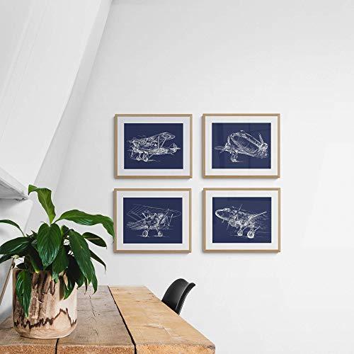LAMINAHOME Set de 4 laminas decorativas para enmarcar. Cuadros Decorativos Grandes 30x40 cm. Posters decoración hogar vintage, aeronáutica, aviación, ingeniería