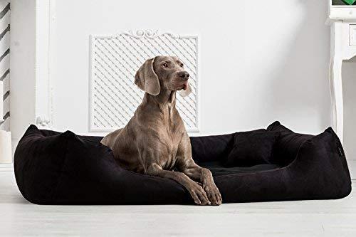 tierlando® Orthopädisches Hundebett Pluto Ortho VISCO Viscoschaum aus weichem Velours Größe: PLV6 160x110 cm | B Farbe: 03 Schwarz