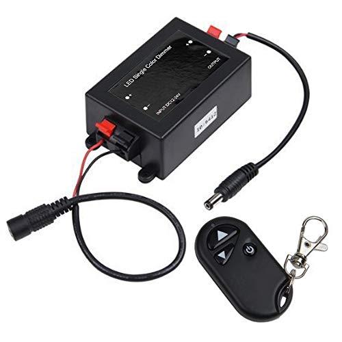 3 Teclas RF Mando a Distancia, 12V / 24V 8A Dimmer Controlador, 25cm DC Macho & Hembra Enchufe Cable para Tira de Solo Color (Monocromo) LED