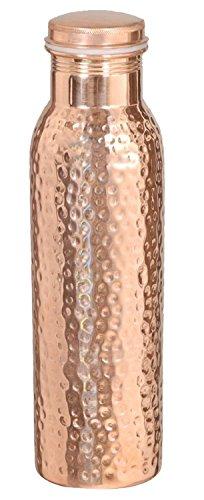 Reise-Wasserflasche aus 100% reinem Kupfer geschmiedet, aus einem Stück, mit ayurvedischen Gesundheits-Vorteilen.
