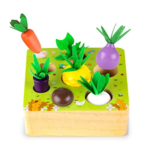 SKYFIELD Wooden Farm Harvest Game Montessori Toy  Early Learning Toy for Boys and Girls 1 2 3 Years Old  Shape Sorting Educational Toy with 7 Sizes Vegetable or Fruit  Gift for Toddlers 1-3