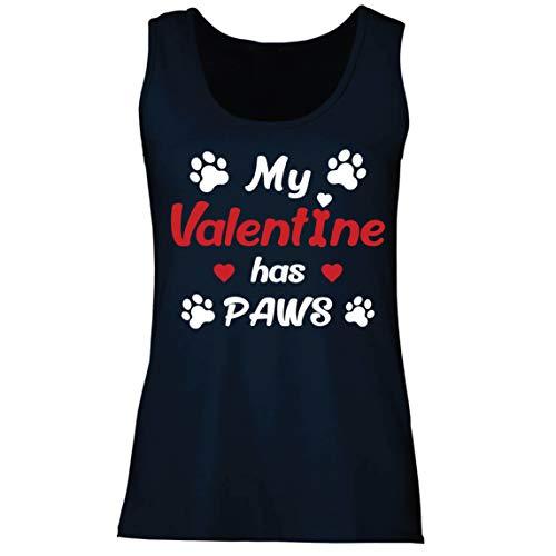 lepni.me Camisetas sin Mangas para Mujer Mi Valentn iene Patas Regalo para los Amantes Adictos a Las Mascotas en el Da de San Valentn (S Azul Multicolor)