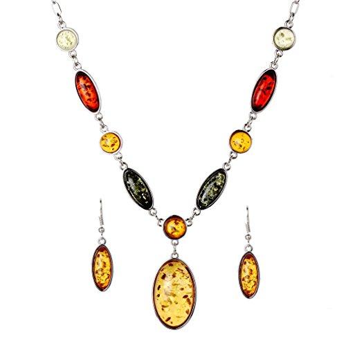 YAZILIND Jewelry Sets Tibetan Silver Pendant Necklace Water Drop Earrings Set Jewellery for Women