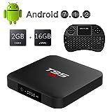 Caja de TV Android 7.1.2 con Mini Teclado inalámbrico, EASYTONE T95 Android TV Boxes Quad-Core 2GB RAM/16GB ROM Soporte 4K (60Hz) Full HD/H.265/3D/2.4G WiFi Google Internet TV Box