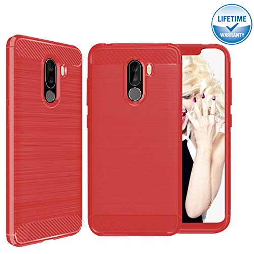 Xiaomi Pocophone F1 Case, [Carbon Fiber][Brushed Grip][Soft TPU Full Body Protector] Poco F1 Cover, Ultra Thin Scratch Resistant Silicone Shockproof Case for Xiaomi Poco F1 6.18 ''- Red