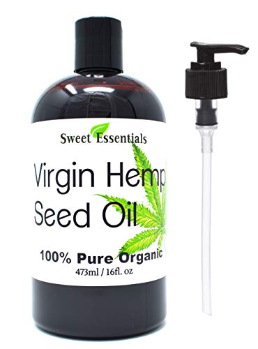 Organic Extra Unrefined Hemp Seed Oil (Food Grade) 16oz | Cannabis Sativa | Imported From Canada | 100% Pure Cold Pressed Offers Relief From Dry & Cracked Skin, Eczema, Psoriasis, Dermatitis, Rosacea