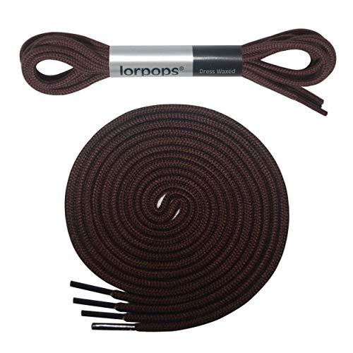 lorpops Dünne runde Kleiderschnürsenkel [2 Paar] 2,4 mm dick (40inch/100cm, Kaffee)