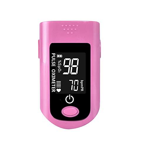 FVD Pulsoximeter, Sauerstoffmonitor Fingerherzfrequenzsättigung mit Display Mit Lanyard Digital Fingertip Alarm Genaue Messwerte,Pink