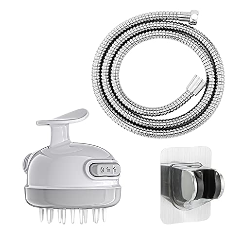 2 in 1 Massage Shower Artifact Handheld Shower Head with Silicone Hair Scalp Massager Brush, 3-Setting High Pressure Shower Head with Water Pressure Control Switch Tool-Free Connection