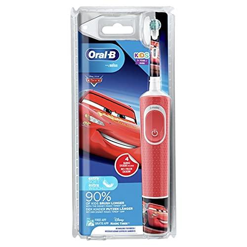 Oral-B Kids Brosse à Dents Électrique Rechargeable avec 1 Manche et 1 Brossette, enfant de 3 ans et plus, Pour un brossage en douceur, Édition Cars