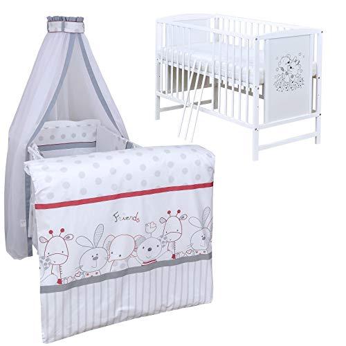 Baby Delux Babybett Komplett Set Kinderbett Mia weiß 120x60 Bettset Matratze in vielen Designs (Friends)