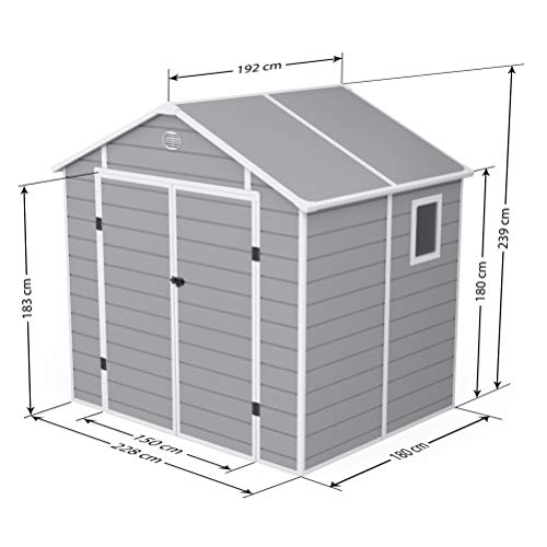 BillyOh Kingston Apex Plastic Shed Inc. Floor | Plastic Garden Storage | Outdoor Storage Shed | 8ft x 6ft - Light Grey