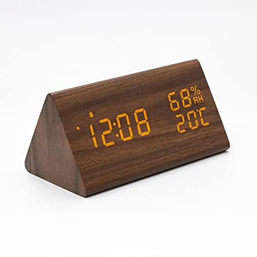 Wecker Digitaler Wecker Uhr Holz, Holzoptik Wecker Tischuhr mit Sprachsteuerung/Datum/Innentemperatur und Luftfeuchtigkeit, 3 einstellbare Alarmgruppe, für Zuhause, Kinder, und Büro (Braun)