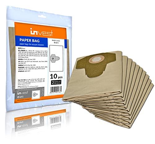 Invest 10 Staubsaugerbeutel geeignet für Parkside 1300 D3 1300 A1, 1300 B2, PNTS 1400, 1400 B2, C1, D1, 1500, PNTS 30/6