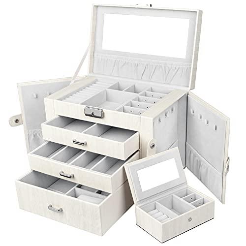 Yorbay Caja Joyero con Espejo y Cajones, Caja para Joyas, para Pendientes, Pulseras, Anillos, Almacenamiento y Expositor,...
