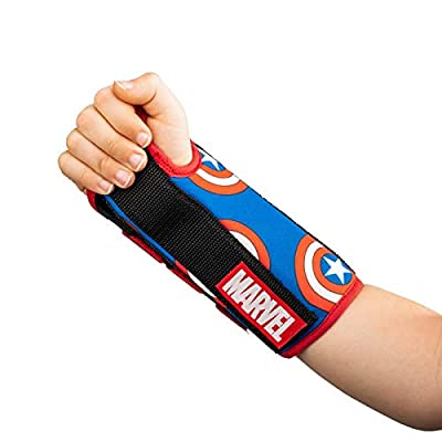 DonJoy Advantage Comfort Wrist Brace for Youth/Kids Featuring Marvels Captain America, Spider-Man to aid sprains strains Support tendonitis Carpal Tunnel - Captain America X-Small - Right