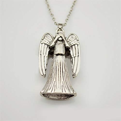 YUNMENG Dr Doctor Who Collar llanto llanto ángel Colgante Jesucristo Amuleto Vintage Antiguo Color Plata joyería