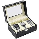 HQdeal Cofre de Relojes 3 Relojes PU Grandes Compartimentos Ventana Transparente Soft Cojines Negros
