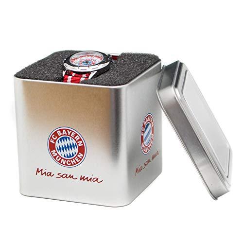 Bayern München Kinder Uhr, Kinderuhr rot in Geschenkbox kompatibel FCB - Plus Lesezeichen I Love München