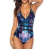 AUISS Women One-Piece Bikini Beautiful Night Lilies Swimwear Elegant Deep V-Neck Backless Stretchy for Vacation