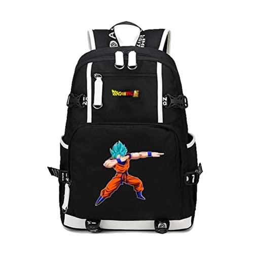 ZXXFR Mochila bolsos Anime Dragon Ball Student Hombres y mujeres Mochila escolar juvenil Negro senderismo portatil ordenador instituto escolares juveniles bolso