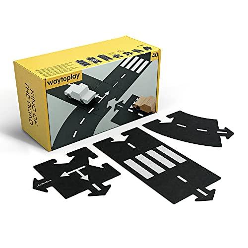 waytoplay- King of The Road Circuit Flexible, 40 Pieces, Noir E Blanc, 648 cm