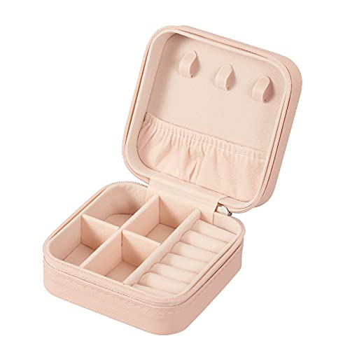 PU Leather Small Jewelry Box, Travel Portable Jewelry Case for Ring, Pendant, Earring, Necklace, Bracelet Organizer Storage Holder Boxes (Pink)