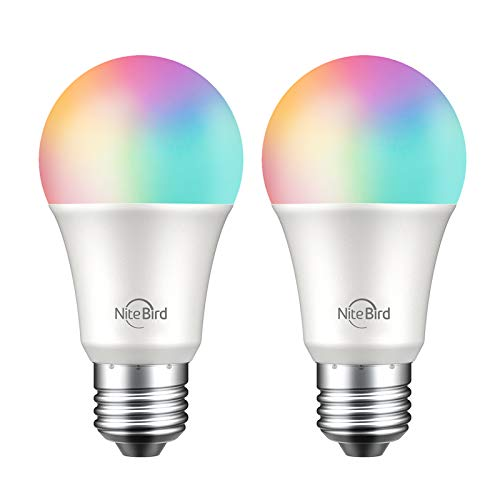 Smart Light Bulbs, NiteBird Dimmable Multi Color Warm White(2700k) Smart Bulb Works with Alexa Echo and Google Home, 75W Equivalent, A19 E26 Led WiFi Light Bulb, No Hub Required, 2 Pack