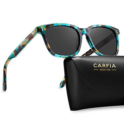 Carfia Gafas de Sol Hombre Mujer Polarizadas UV400 Protección Retro Acetato Marco Conducción Glasses