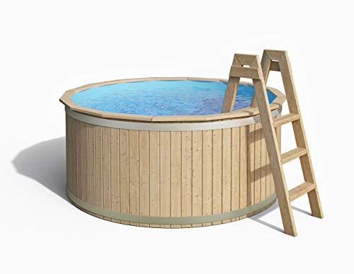 ISIDOR Holzpool, Swimmingpool Carl mit Poolfolie und Vollholzleiter 240x107cm